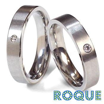サージカルステンレスリング 指輪 ペアリング ワンポイントジュエル